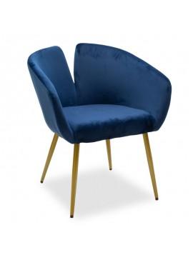 Πολυθρόνα Simpa pakoworld βελούδο μπλε-χρυσό 67x62x77εκ 110-000027