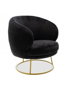 Πολυθρόνα Rony pakoworld βελούδο μαύρο-χρυσό 78x75x82εκ 110-000029