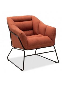 Πολυθρόνα Ethan pakoworld με ύφασμα χρώμα κεραμιδί  66x70x75εκ 111-000003