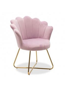Πολυθρόνα Evi pakoworld με βελούδο χρώμα μωβ-ροζ 73x62x87εκ 111-000007