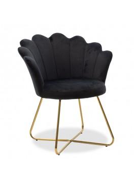 Πολυθρόνα Evi pakoworld με βελούδο χρώμα μαύρο 73x62x87εκ 111-000008