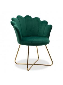 Πολυθρόνα Evi pakoworld με βελούδο χρώμα κυπαρισσί 73x62x87εκ 111-000009