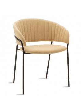 Πολυθρόνα Maggie pakoworld μεταλλική μαύρη-ύφασμα μπεζ 112-000006