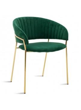Πολυθρόνα Maggie pakoworld μεταλλική χρυσό gloss-βελούδο πράσινο 112-000007