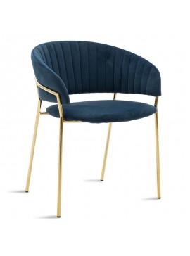 Πολυθρόνα Maggie pakoworld μεταλλική χρυσό gloss-βελούδο μπλε 112-000008