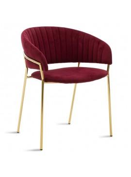 Πολυθρόνα Maggie pakoworld μεταλλική χρυσό gloss-βελούδο μπορντώ 112-000009