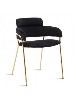 Πολυθρόνα Nicole pakoworld μεταλλική χρυσό gloss-βελούδο μαύρο 112-000015
