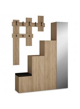 Έπιπλο εισόδου-παπουτσοθήκη UP pakoworld 10 ζεύγων κρεμάστρα-καθρέπτης φυσικό 150x37x180 119-000657