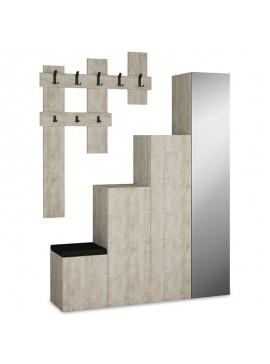 Έπιπλο εισόδου-παπουτσοθήκη UP pakoworld 10 ζεύγων κρεμάστρα antique λευκό 150x37x180 119-000658