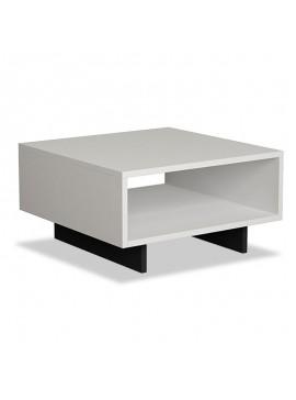 Βοηθητικό τραπέζι Hola pakoworld χρώμα antique λευκό - ανθρακί 60x60x32εκ 119-000726