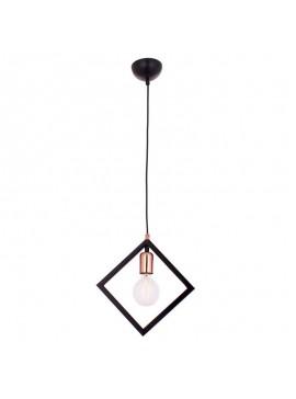 Κρεμαστό μεταλλικό φωτιστικό οροφής Delta 1 pakoworld χρώμα μαύρο 20x10x70εκ 119-001019