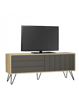 Έπιπλο τηλεόρασης Picadilly pakoworld χρώμα light oak-ανθρακί 139x36x57εκ 119-001047
