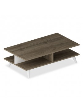 Τραπέζι σαλονιού Isabel pakoworld χρώμα καρυδί-λευκό 90x50x27,5εκ 120-000027