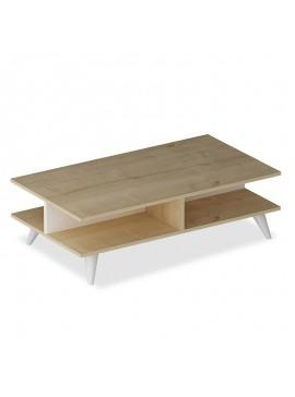 Τραπέζι σαλονιού Isabel pakoworld χρώμα φυσικό-λευκό 90x50x27,5εκ 120-000028