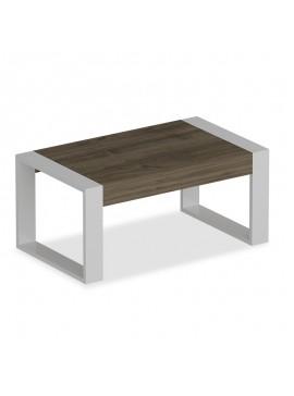 Τραπέζι σαλονιού Rima pakoworld χρώμα λευκό-καρυδί 90x50x40εκ 120-000029