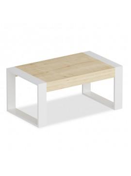 Τραπέζι σαλονιού Rima pakoworld χρώμα λευκό-φυσικό 90x50x40εκ 120-000030