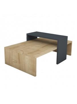 Τραπέζι σαλονιού Glow pakoworld χρώμα φυσικό-ανθρακί 80x50x32εκ 120-000040