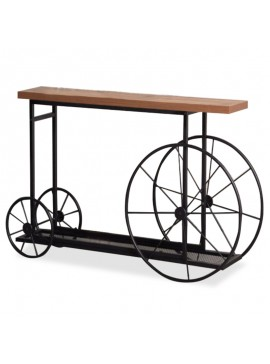 Κονσόλα Bike pakoworld χρώμα μαύρο-καρυδί 148x28x85εκ 120-000051