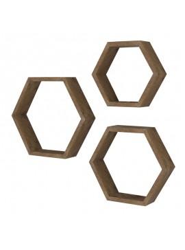 Ραφιέρα τοίχου Valis pakoworld τριών τεμαχίων χρώμα καρυδί 40x9x35εκ 120-000058