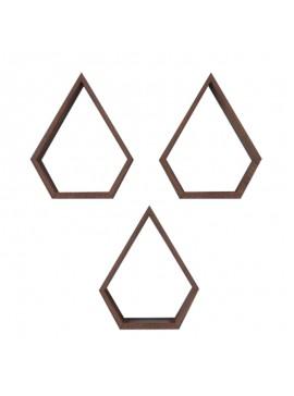 Ραφιέρα τοίχου Obri pakoworld τριών τεμαχίων χρώμα καρυδί 28.5x9x35εκ 120-000063