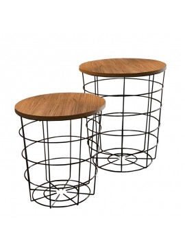 Βοηθητικά τραπέζια σαλονιού Laert pakoworld σετ 2 τεμ oak-μαύρο Φ45x54εκ 120-000066