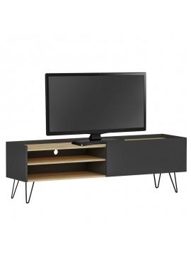 Έπιπλο τηλεόρασης Veronica pakoworld χρώμα ανθρακί-φυσικό 120x33x49,5εκ 120-000101