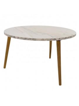 Τραπέζι σαλονιού Wally pakoworld λευκό-καφέ Φ73x40εκ 120-000139