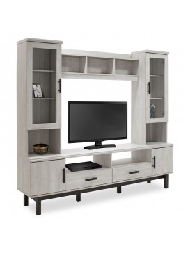 Σύνθετο σαλονιού Bonito pakoworld TV χρώμα white wash-ebony 200x43x180εκ 123-000062