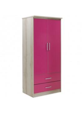 Ντουλάπα ρούχων παιδική δίφυλλη Looney pakoworld χρώμα castillo-ροζ 81x57x183εκ 123-000073