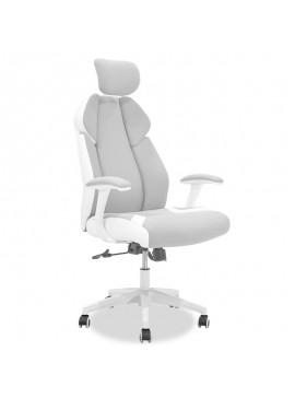 Καρέκλα γραφείου διευθυντή MOMENTUM Bucket pakoworld γκρι υφάσμα Mesh-πλάτη pu λευκό 126-000009
