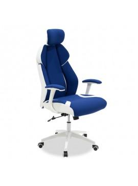 Καρέκλα γραφείου διευθυντή MOMENTUM Bucket pakoworld μπλε υφάσμα Mesh-πλάτη pu λευκό 126-000013