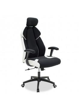 Καρέκλα γραφείου διευθυντή MOMENTUM Bucket pakoworld μαύρο υφάσμα Mesh-πλάτη pu λευκό 126-000014