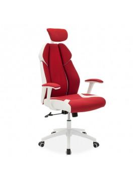 Καρέκλα γραφείου διευθυντή MOMENTUM Bucket pakoworld κόκκινο υφάσμα Mesh-πλάτη pu λευκό 126-000027