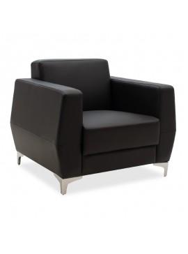 Πολυθρόνα Dermis pakoworld inox-τεχνόδερμα μαύρο 88x75x75εκ 132-000001