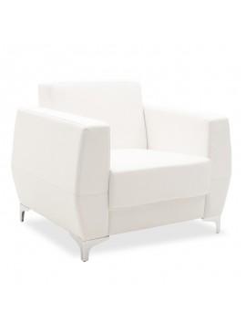 Πολυθρόνα Dermis pakoworld inox-τεχνόδερμα λευκό 88x75x75εκ 132-000005