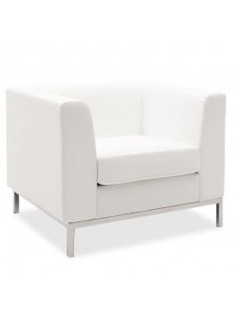 Πολυθρόνα Professional pakoworld inox-τεχνόδερμα λευκό 85x75x66εκ 132-000017