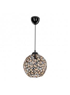 Φωτιστικό οροφής PWL-0958 pakoworld Ε27 μαύρο με κρύσταλλα Φ23x71εκ 147-000004