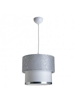 Φωτιστικό οροφής PWL-0963 pakoworld Ε27 ασημί-λευκό Φ30x55εκ 147-000009