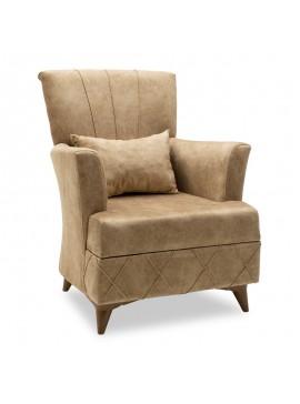 Πολυθρόνα-μπερζέρα Lalezar pakoworld ύφασμα καφέ antique 76x80x91εκ 148-000004