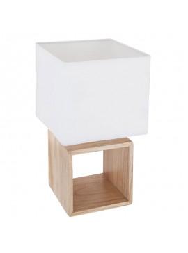 Επιτραπέζιο φωτιστικό Square pakoworld ξύλινο φυσικό-λευκό 18x18x32εκ 199-000002