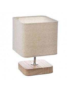 Επιτραπέζιο φωτιστικό Sand pakoworld Ε14 ξύλινο μεταλλικό φυσικό-εκρού 15x15x21εκ 199-000003