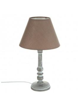 Επιτραπέζιο φωτιστικό Leo pakoworld χρώμα γκρι antique-καπέλο καφέ Φ20x36εκ 199-000063