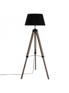 Ρυθμιζόμενο φωτιστικό δαπέδου Runo pakoworld E27 χρώμα καφέ-καπέλο μαύρο Φ46x145εκ 199-000066