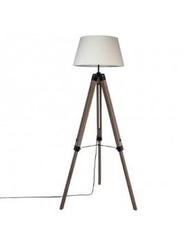 Ρυθμιζόμενο φωτιστικό δαπέδου Runo pakoworld E27 χρώμα καφέ-καπέλο λευκό Φ46x145εκ 199-000067