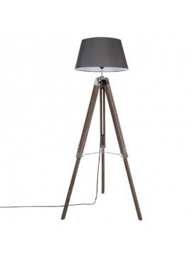 Ρυθμιζόμενο φωτιστικό δαπέδου Runo pakoworld E27 χρώμα καφέ-καπέλο ανθρακί Φ46x145εκ 199-000068