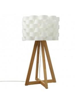 Επιτραπέζιο φωτιστικό Moki pakoworld Ε19 μπαμπού χρώμα φυσικό-καπέλο pp λευκό Φ30x55εκ 199-000070