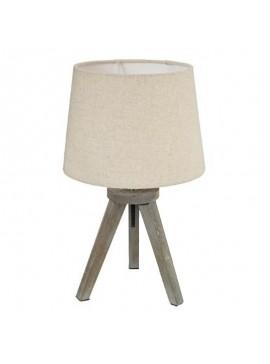 Επιτραπέζιο φωτιστικό Trip pakoworld ξύλινο χρώμα γκρι καφέ-καπέλο εκρού Φ18x30,5εκ 199-000082