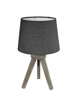 Επιτραπέζιο φωτιστικό Trip pakoworld ξύλινο χρώμα γκρι καφέ-καπέλο ανθρακί Φ18x30,5εκ 199-000083