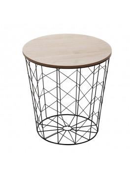 Βοηθητικό τραπέζι σαλονιού Cabel pakoworld oak-μαύρο Φ37.5x37εκ 199-000096