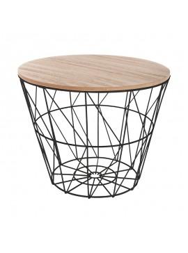 Βοηθητικό τραπέζι σαλονιού Jacot pakoworld oak-μαύρο Φ38x30,5εκ 199-000097
